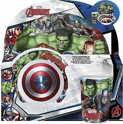 Marvel Avengers Childrens 3 Piece Tumbler Bowl and Plate Set