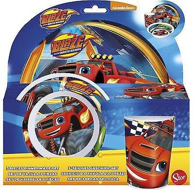 Blaze and the Monster Machines Childrens 3 Piece Tumbler Bowl and Plate Set