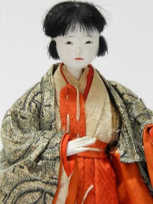 Old Japanese Female Samurai Shogun Doll Silk Clothes - Gofun - Old - Nr !