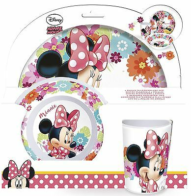 Disney Minnie Mouse Childrens 3 Piece Tumbler Bowl and Plate Set