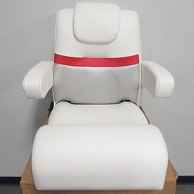 Larson Escape Pontoon Boat OEM Low Back Bucket Captain Seat Red/White