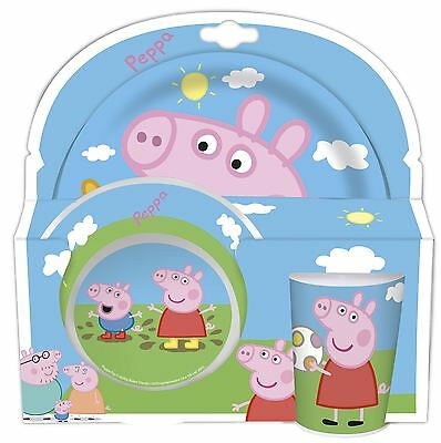 Peppa Pig Childrens 3 Piece Tumbler Bowl and Plate Set