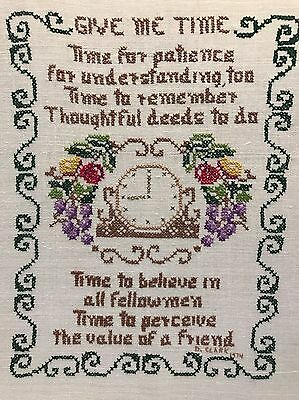 GIVE ME TIME Completed Embroidered Cross Stitch SAYING SAMPLER D.Clark 1974