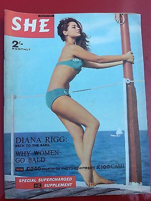 SHE August 1966 Diana Rigg article  vintage magazine