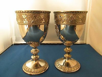 2 vintage Corbell & Co. silver plated embossed water wine goblets 1950's