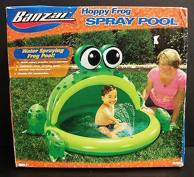 New Original Banzai Hoppy Frog Spray Pool Inflatable Canopy Ages 2+