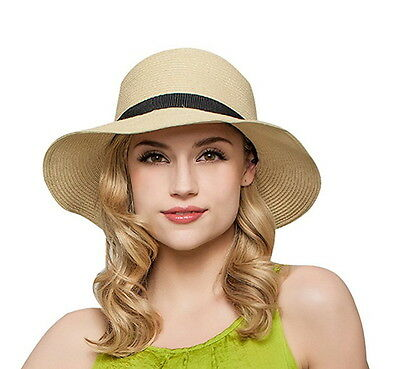 Women Floppy Sun Beach Straw Hats Wide Brim Packable Summer Cap