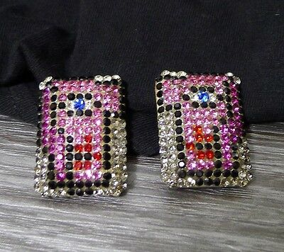 Sonia Demaria Swarovski Crystal Clip-On Earrings Cubism Face Signed 80's Italy