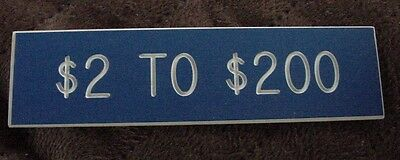 """ONE BLUE CASINO GAMING TABLE LIMIT SIGN One Side $2-$200 Poker """"21""""  Baccarat"""