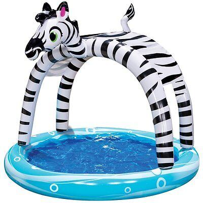 New Original Banzai Shade 'n Sun Zebra Splash Pool Inflatable Canopy Ages 3+