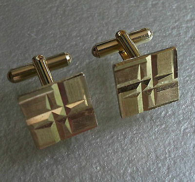 Quality Vintage Cufflinks Gold Coloured Cut Metal 1960's 1970's Mod Square