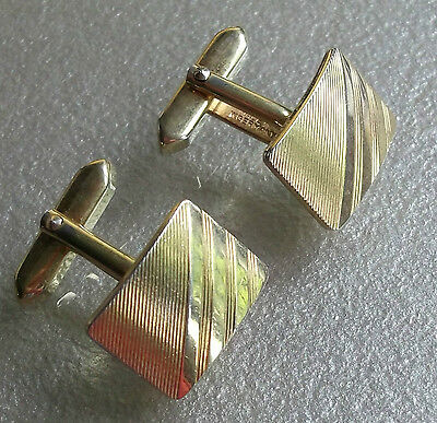 Quality Vintage Cufflinks 1960's 1970's Goldtone Metal Mod Striped Design Retro