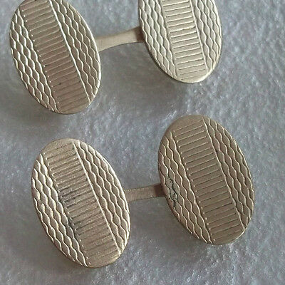 Cufflinks Vintage 1920's 1930's 1940's Art Deco Goldtone Metal Oval Ends