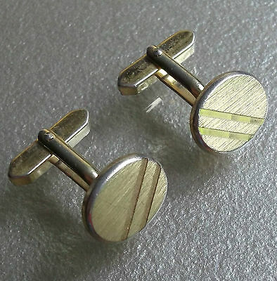 Quality Vintage Cufflinks 1960's 1970's Goldtone Metal Mod Striped Oval Design