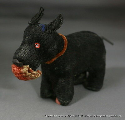 ANTIQUE 1920'S Black VELVET SCOTTISH TERRIER SCOTTY DOG TOY Wind-Up Japan