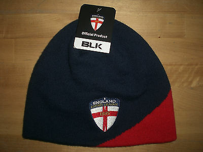 England Rfl Rugby League Blk Beanie / Woolly Hat - One Size  *new With Tags*