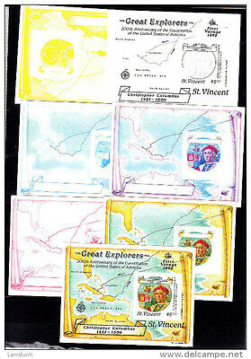 St Vincent Christopher Columbus map First Voyage COLOR PROOFS imperf sheets 1992