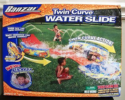 New Original Banzai Twin Curve Water Slide W/ Inflatable Body Board Ages 5 - 12
