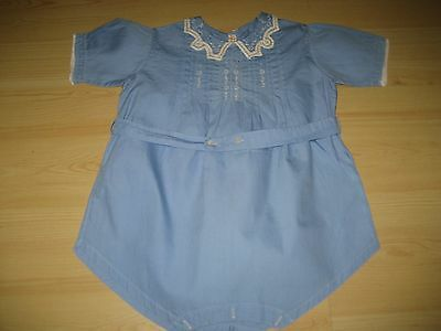 Antique Vtg 20/30s Boy Girl 6 Mo Blue Embroidered HAND MADE ROMPER SUIT Lace