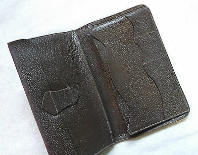 Vintage Dark Brown Leather Mens Wallet 1960's 1970's Mod Cards Id Notes Etc