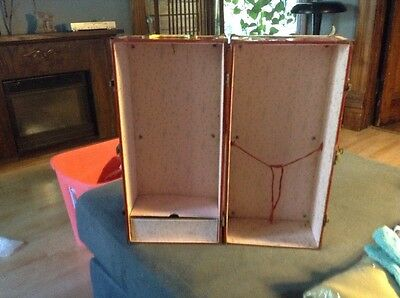 Vintage Doll Trunk Red/White Metal Carring Case withe Handle