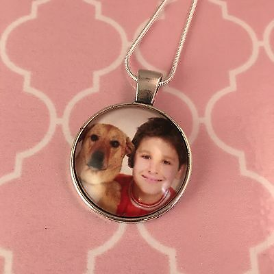 Personalised Photo Pendant Necklace - 25mm circle pendant with snake chain