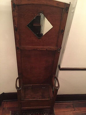 Oak Hall Stand - Early 1900's - Bench, Beveled Mirror, Umbrella Slots - $475