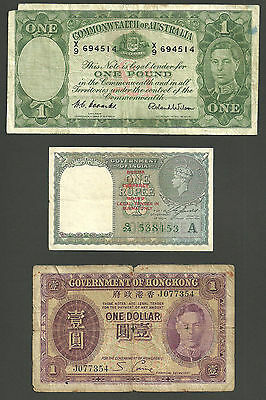 3 old Commonwealth banknotes from King George VI's reign.