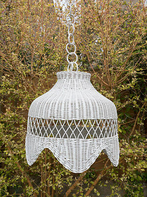 Large Vintage Wicker Woven 70's 80's Ceiling Pendant Lampshade Long Drop Chain