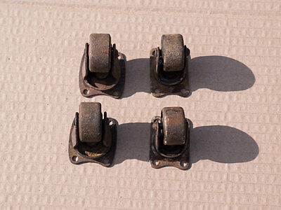 Vintage Metal Furniture or Trolley Castors w Ball Bearing Fixing Plates Set of 4