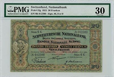1922 Switzerland, Nationalbank 20 Franken VF30 PMG