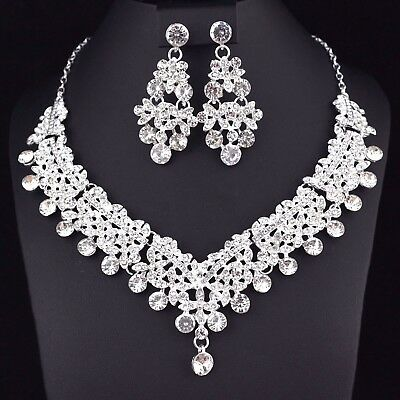 Clovers Clear Austrian Rhinestone Necklace Earrings Set Wedding Bridal Prom N39c