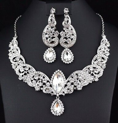 Wave Clear Austrian Rhinestone Crystal Statement Necklace Earrings Set Prom N32