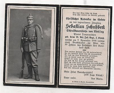 Ww1 German Death Card-Sebastian Schuhbeck-18 Res Inf Rgt 1 Kmp-9 Nov 1916
