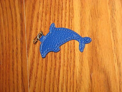 New Estee Lauder Blue Dolphin Animal Leather Key Chain Fob Purse Bag Charm Gift