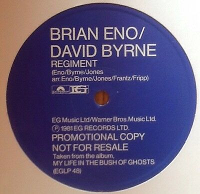 "BRIAN ENO/DAVID BYRNE Regiment VERY RARE NUMBERED (346) PROMO 12""VINYL 1ST PRESS"
