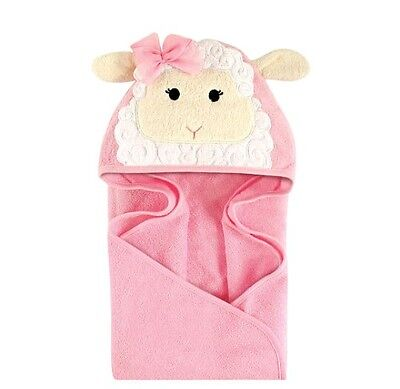 Hudson Baby Animal Face Hooded Towel for Baby Girl Pink lamb Ears Baby Gift