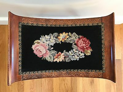 Vintage Floral Needlepoint Mahogany Footstool with Turned Legs