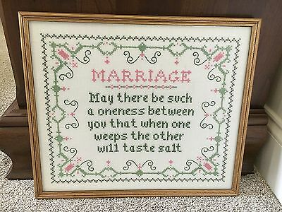 SAMPLER MARRIAGE VERSE WEDDING ANNIVERSARY GIFT Embroidery Stitch Gold Frame