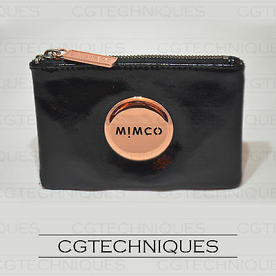 Mimco Black Rose Gold Small Pouch Wallet Patent Leather Rrp $69.95