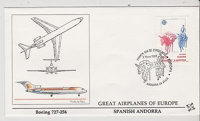 Spainish Andorra  - FDC's - Great Airplanes of Europe - Europa 1988  (G69) (X)