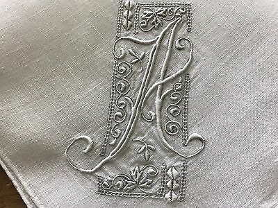 A+ Vintage White Hankie Madeira Style Hand Embroidered Monogram A Bride Wedding