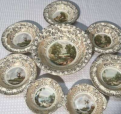 Eight Fruit Bowls Sundae Set Lord Nelson Ware The Mill Cornfield Constable BCM