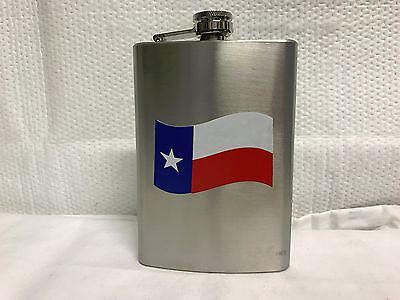 8 Oz Stainless Steel Texas Flag Flask Box Secure Lid Free Shipping