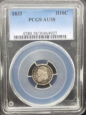 1833  Half Dime  PCGS Graded Original Coin Superb Eye Appeal Original toning