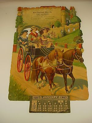 Antique New England Shoe Company Calendar 1915 German Die Cut Crossett Shoes