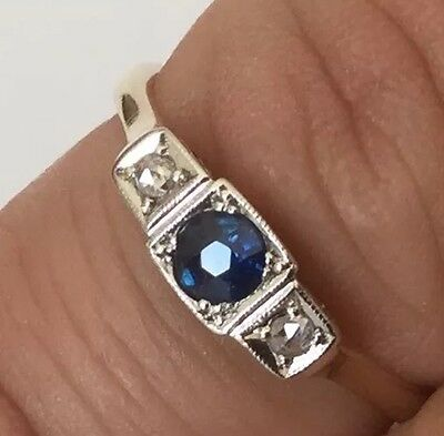 Antique Edwardian 9Ct Gold And Platinum  Sapphire And Diamond Three Stone Ring