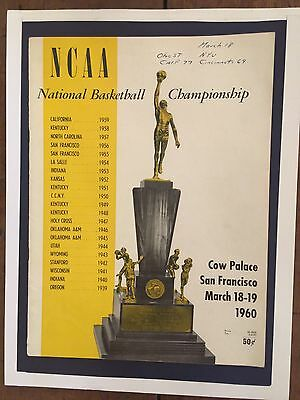 "1960 Ncaa Final Four Basketball Program/cal-Cincinnati Ohio State-N.y.u./""big O"""