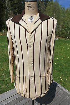 FABULOUS 1930s Striped Linen Suit Jacket with Ribbed Knit Collar - Really Rare!