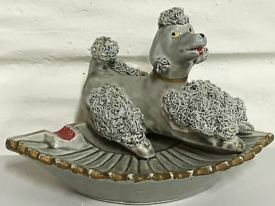 """Vintage Grey Spaghetti Glass 3""""Poodle Ashtray Made in Japan - REPAIRED TAIL"""